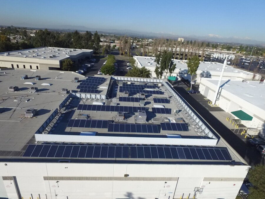 Air conditioning costs needed to be curbed so XsunX designed a PV solution on a cluttered roof